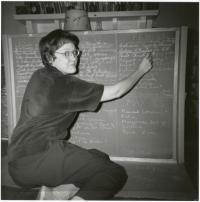 Barbara Gittings at a Chalkboard